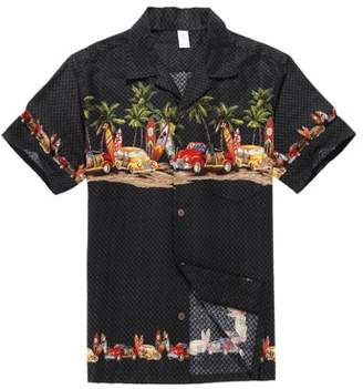 Disney Pixar Cars Hawaiian Shirt Aloha Shirt in Black Vintage Cars and Surf Boards