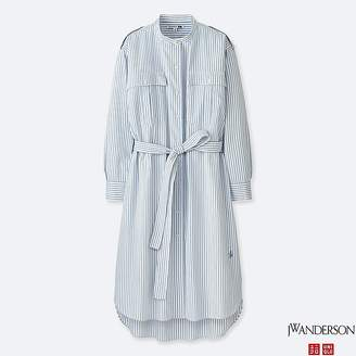 Uniqlo Women's Jwa Extra Fine Cotton Shirt Stripe Long-sleeve Dress