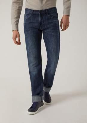 Emporio Armani J65 Regular Fit Jeans In Vintage Linen Denim