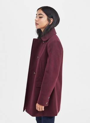 Miss Selfridge Petite burgundy pea coat