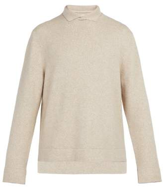 BEIGE Deveaux - Slit Collar Cashmere Blend Sweater - Mens