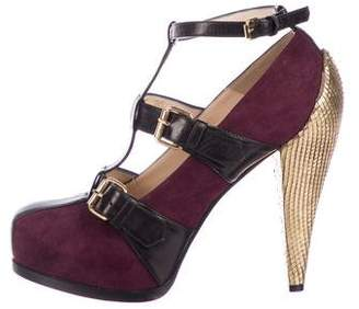 3.1 Phillip Lim Suede Cage Pumps