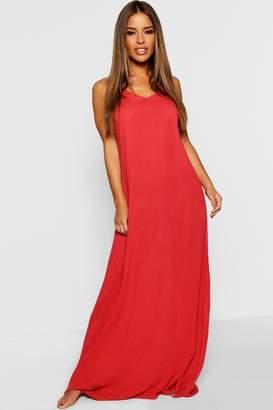 boohoo Petite Sarah V Back Cheesecloth Beach Maxi Dress