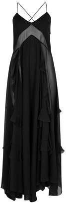 Givenchy Black Sheer-panelled Silk Gown