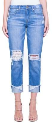 Liverpool Jeans Company Kennedy Distressed Raw Hem Crop Boyfriend Jeans