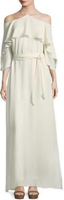 Halston Halter-Neck Flounce Ruffle Self-Tie Evening Gown