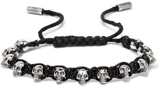 Alexander McQueen Silver-Tone Skull and Leather Bracelet - Men - Black