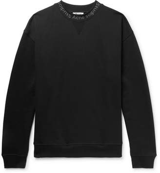 Acne Studios Flogho Logo-Print Fleece-Back Cotton-Jersey Sweatshirt