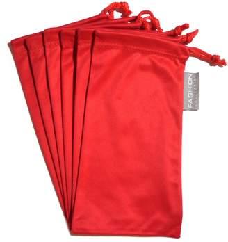 Moda 6 PC Eyewear Eyeglass Microfiber Soft Cleaning Cloth Bag Pouch Case RED