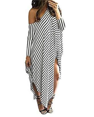 ab0fe1de1a Kidsform Women Maxi Dress Off Shoulder Striped Long Dresses 3/4 Sleeve Casual  Loose Oversized
