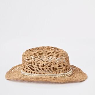 d5bd4736 River Island Girls Brown stud embellished straw hat