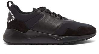 Buscemi Ventura Low Top Leather And Knit Trainers - Mens - Black