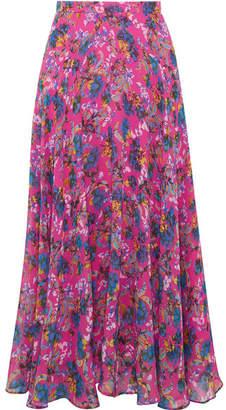 Saloni Ida-b Floral-print Silk-chiffon Midi Skirt - Bright pink