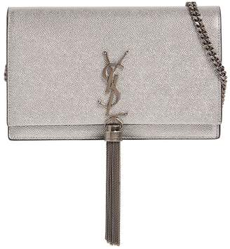 Saint Laurent Mini Kate Silver Leather Bag
