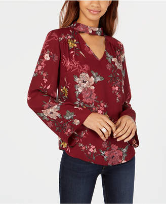 Hippie Rose Juniors' Floral Printed Choker Blouse