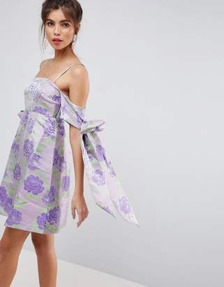 Asos SALON Jacquard Bow Tie Cold Shoulder Empire Mini Dress