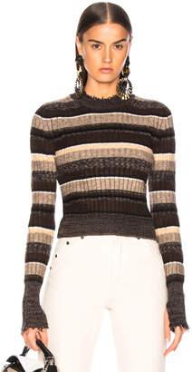 Helmut Lang Ombre Shrunken Crew Neck Sweater in Mocha Melange Stripe | FWRD