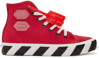 Off-White Red Vulcanized High-Top Sneakers