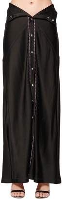 Diesel Black Gold Viscose Satin Long Skirt