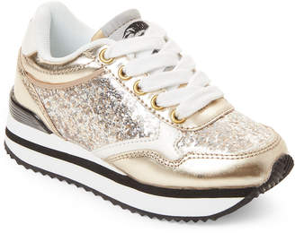 Diesel Infants Girls) White & Gold Glitter Sneakers