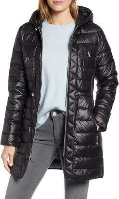 Kenneth Cole New York Long Hooded Puffer Coat