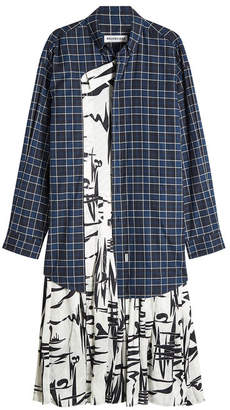 Balenciaga Printed Shirt Dress in Cotton and Silk