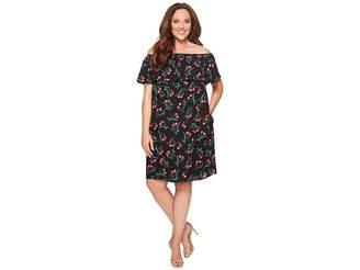 Vince Camuto Specialty Size Plus Size Ruffle Off Shoulder Tropical Spritz Dress Women's Dress