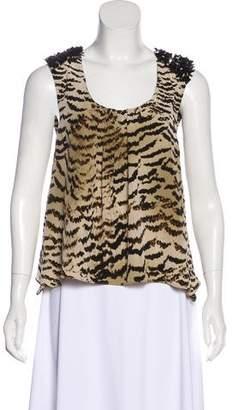 Madison Marcus Silk Embellished Sleeveless Top