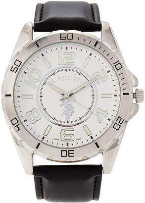 U.S. Polo Assn. USC50008 Silver-Tone & Black Watch