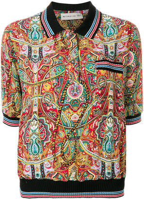Etro printed rib-trim blouse