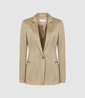Reiss Ayla Jacket - Textured Blazer in Pale Gold