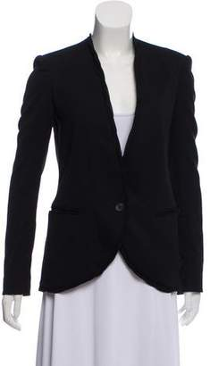 Helmut Lang Wool-Silk Collarless Blazer