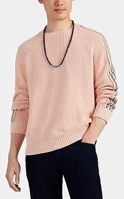 Alanui Men's Cotton-Cashmere Crewneck Sweater - Pink