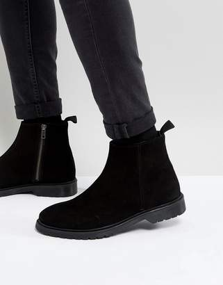 Asos DESIGN Chelsea Boots In Black Suede With Zip And Ribbed Sole