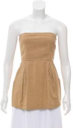 Theory Strapless Pleated Top