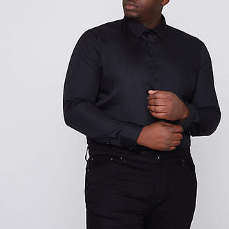 River Island Big and Tall black long sleeve shirt