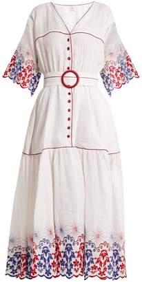 GÜL HÜRGEL Belted embroidered linen dress