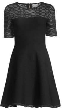 Milly Women's Translucent Textured Fit-&-Flare Dress - Black - Size XS