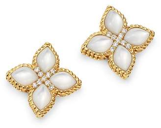 Roberto Coin 18K Yellow Gold Venetian Princess Mother-Of-Pearl & Diamond Earrings