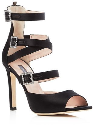 SJP by Sarah Jessica Parker Fugue Satin Strappy High Heel Sandals $485 thestylecure.com