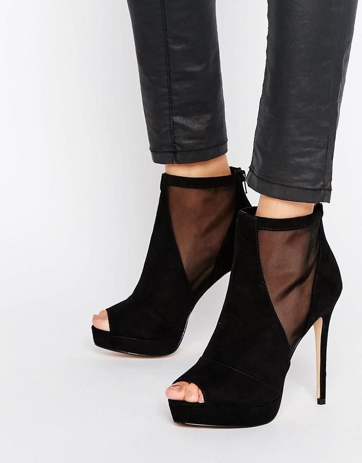 AldoALDO Jaina Mesh Detail Peeptoe Platform Heeled Ankle Boots