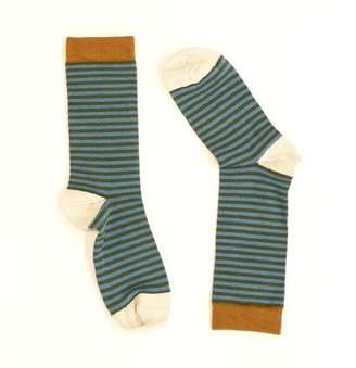 Blade + Blue Light Aqua Blue & Olive Green Mini Stripe Socks