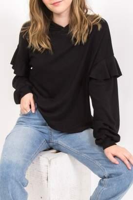 Very J Ruffle Hoodie Sweatshirt