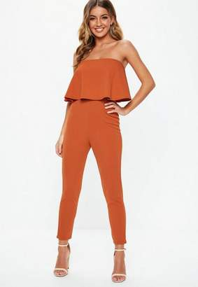 Missguided Rust Bandeau Layer Slim Leg Romper