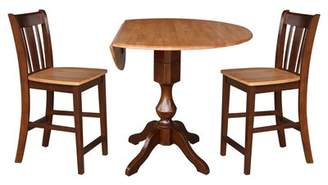 Alcott Hill Atalaya Round Top Drop Leaf Pedestal 3 Piece Adjustable Pub Table Set Alcott Hill