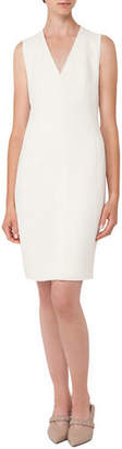 Akris V-Neck Sleeveless Wool-Crepe Sheath Dress