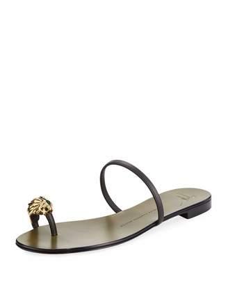 Giuseppe Zanotti Lion Head Leather Flat Sandal, Brown $559 thestylecure.com