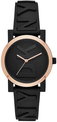 DKNY Women's SoHo Black Silicone Strap Watch 34mm