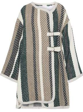 See by Chloe Leather-Trimmed Striped Jacquard-Knit Coat