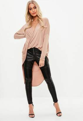 Missguided Drape Twist Front Longsleeve Tunic